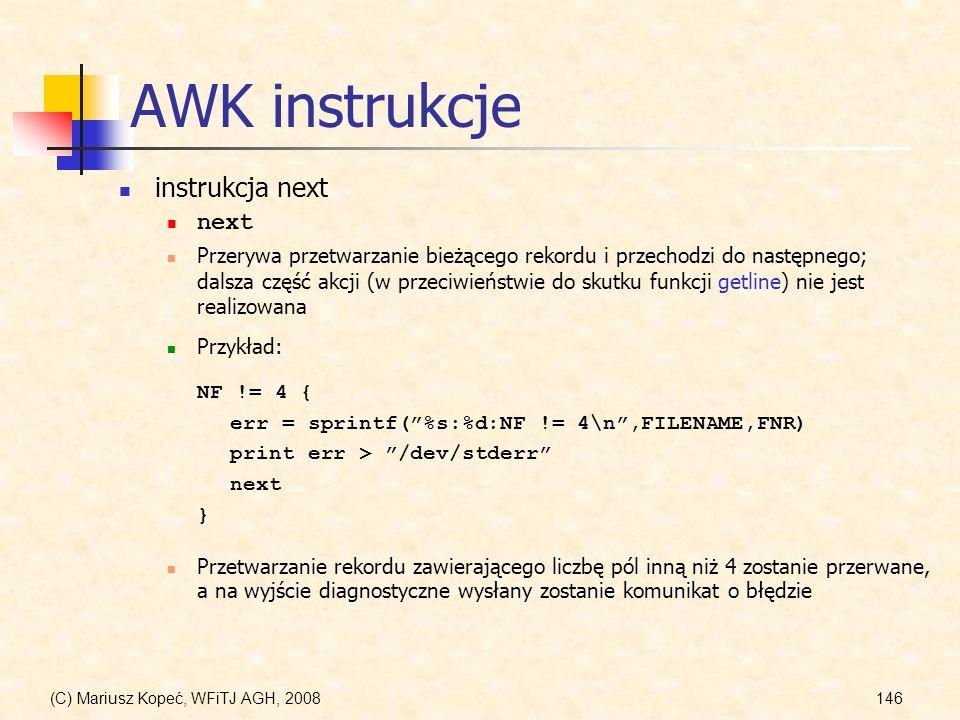 AWK instrukcje instrukcja next next