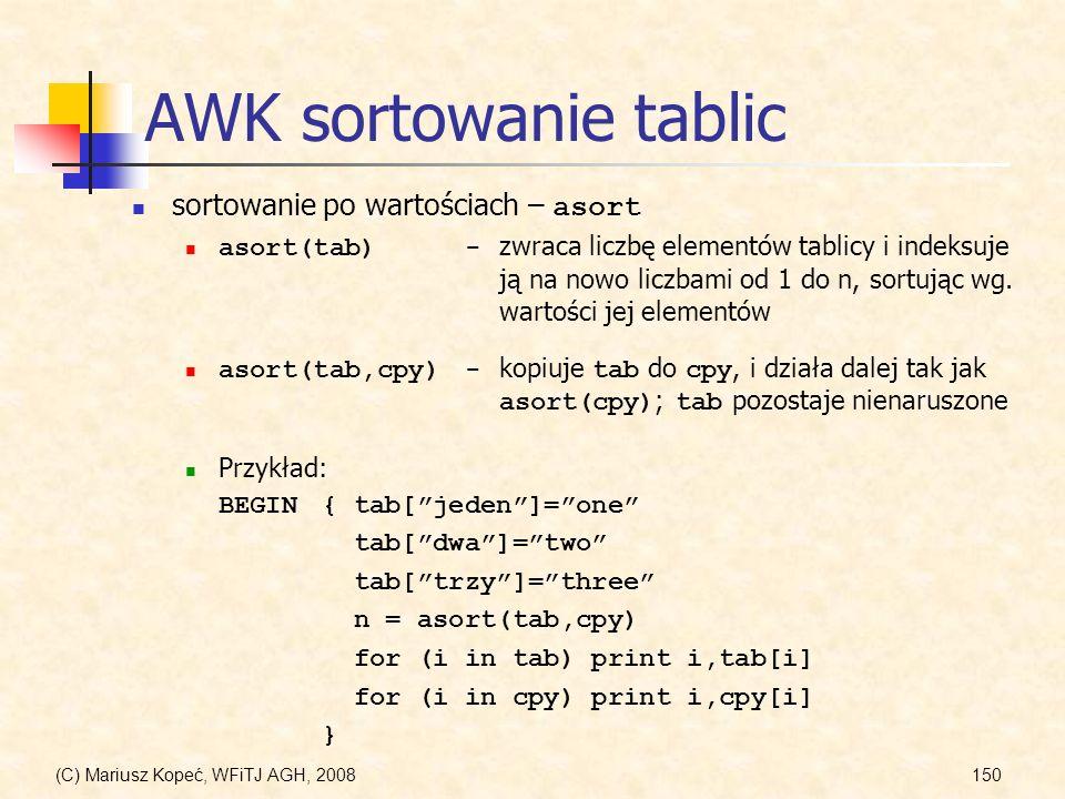 AWK sortowanie tablic sortowanie po wartościach – asort