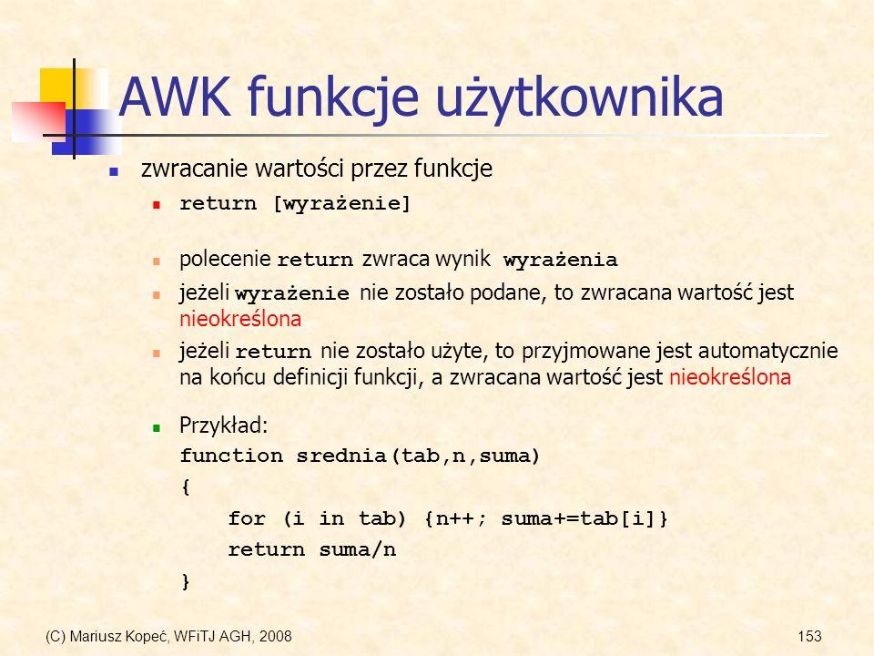 AWK funkcje użytkownika