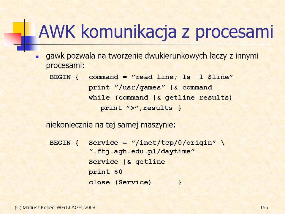 AWK komunikacja z procesami