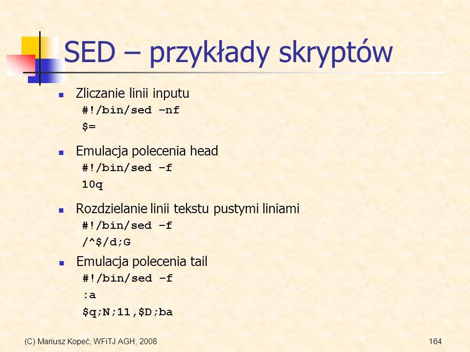 SED – przykłady skryptów