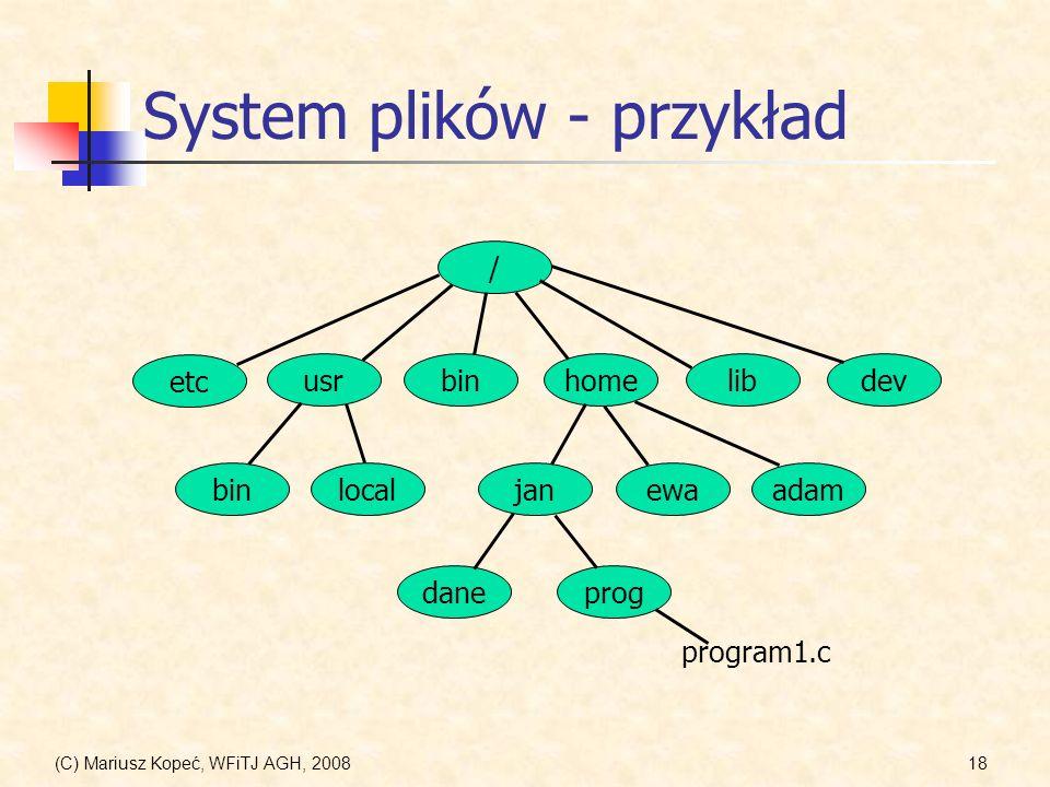 System plików - przykład