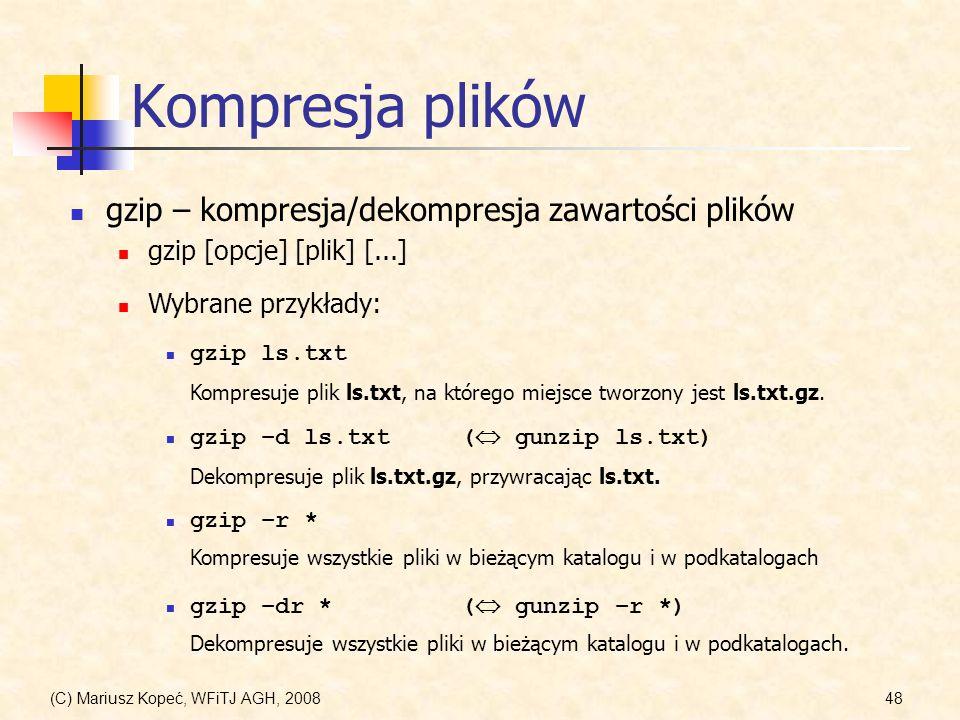 Kompresja plików gzip – kompresja/dekompresja zawartości plików