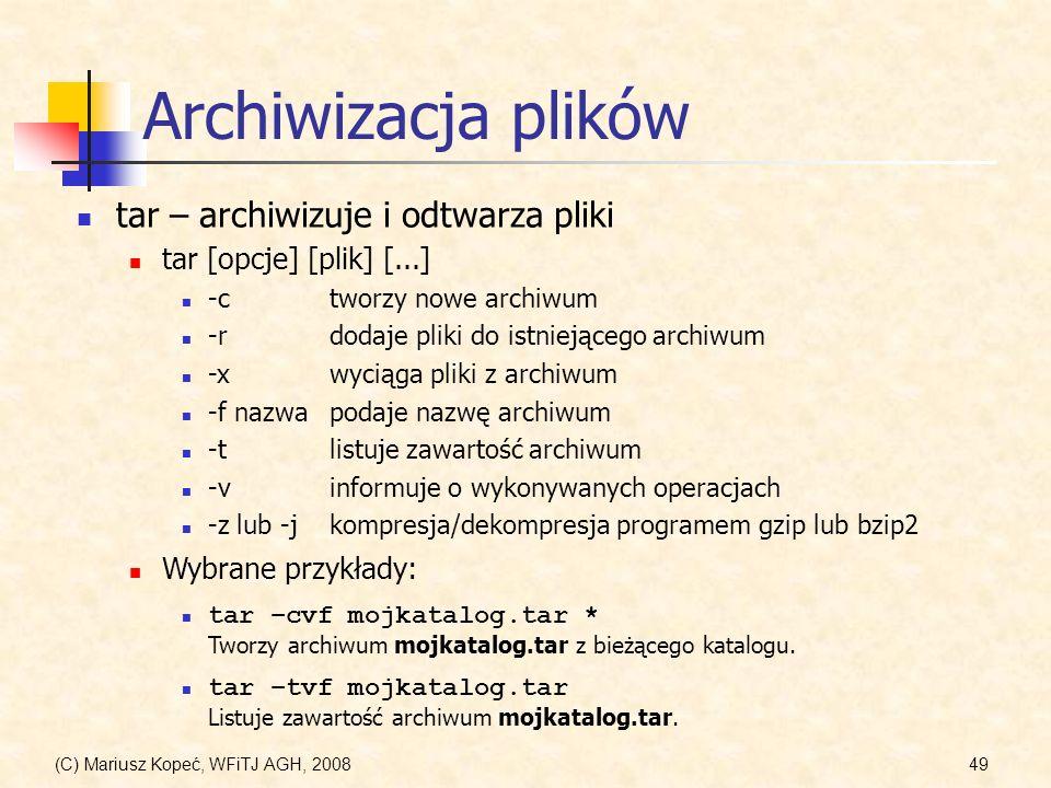 Archiwizacja plików tar – archiwizuje i odtwarza pliki