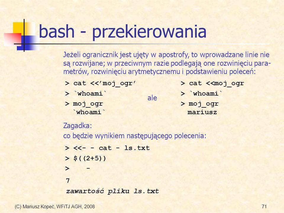 bash - przekierowania
