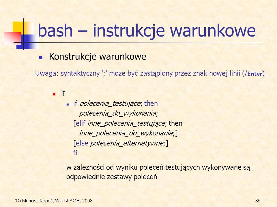 bash – instrukcje warunkowe
