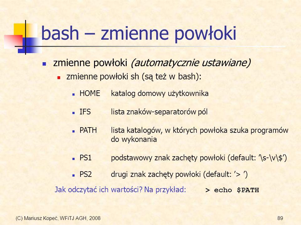 bash – zmienne powłoki zmienne powłoki (automatycznie ustawiane)
