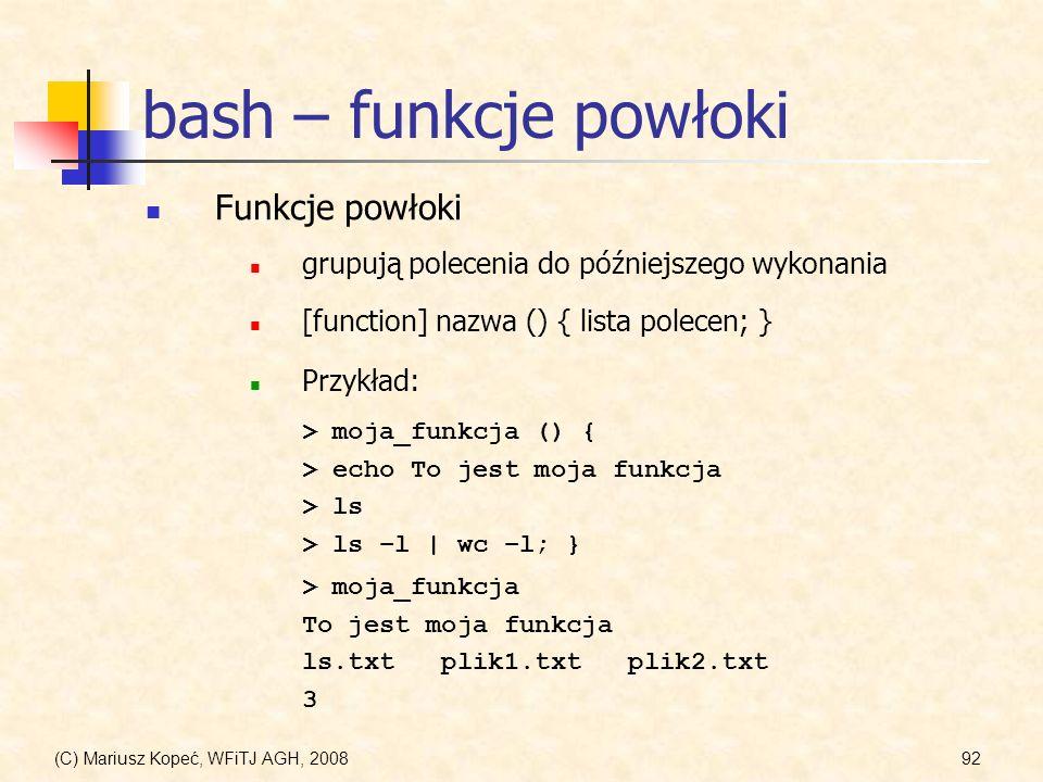 bash – funkcje powłoki Funkcje powłoki