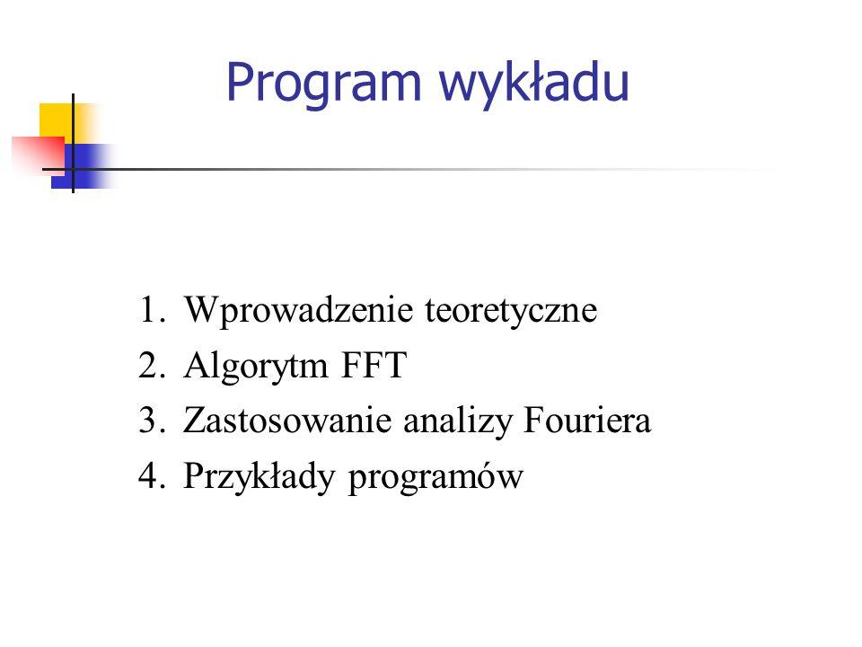 Program wykładu Wprowadzenie teoretyczne Algorytm FFT