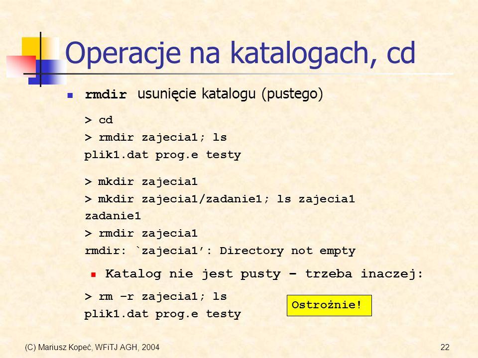 Operacje na katalogach, cd