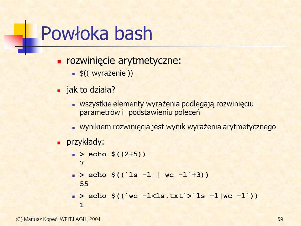 Powłoka bash rozwinięcie arytmetyczne: jak to działa przykłady: