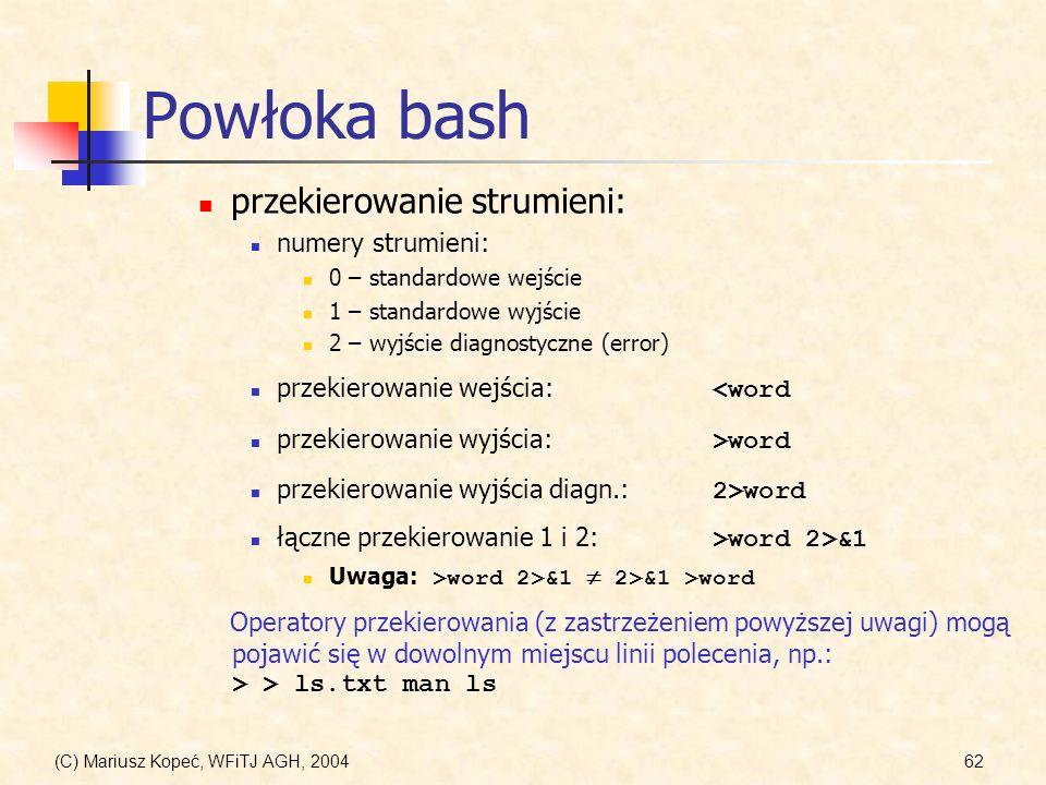 Powłoka bash przekierowanie strumieni: numery strumieni: