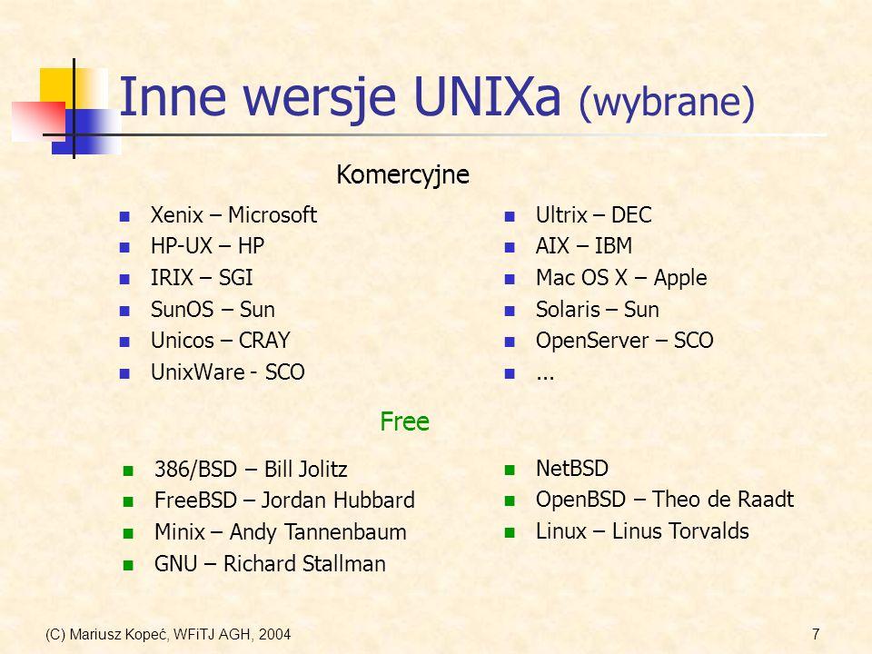 Inne wersje UNIXa (wybrane)