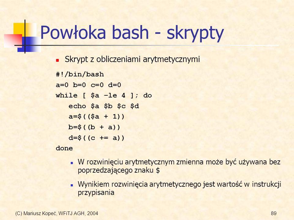 Powłoka bash - skrypty Skrypt z obliczeniami arytmetycznymi