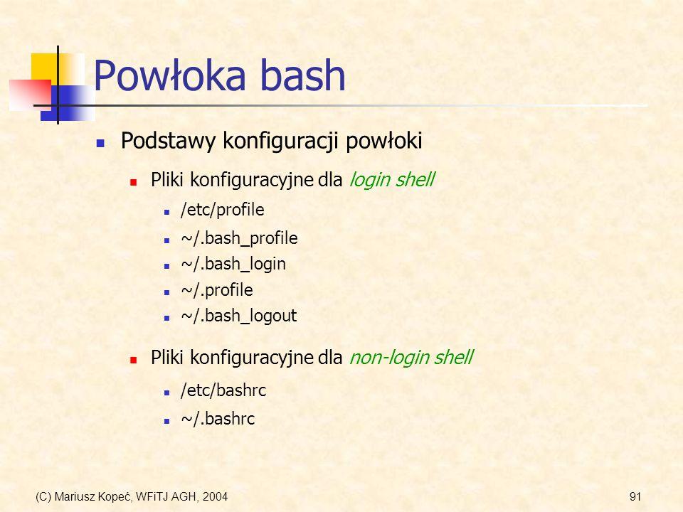 Powłoka bash Podstawy konfiguracji powłoki