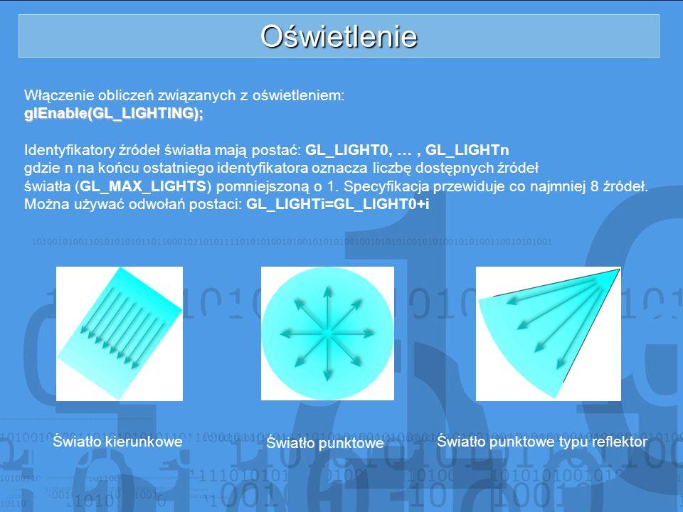 Oświetlenie Włączenie obliczeń związanych z oświetleniem:
