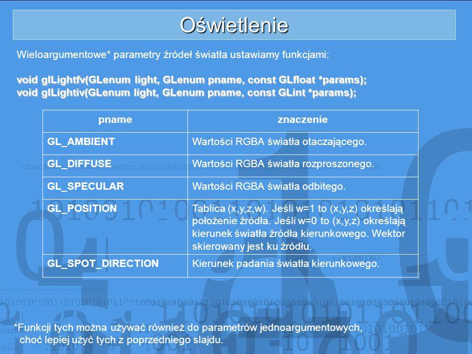 Oświetlenie Wieloargumentowe* parametry źródeł światła ustawiamy funkcjami: void glLightfv(GLenum light, GLenum pname, const GLfloat *params);