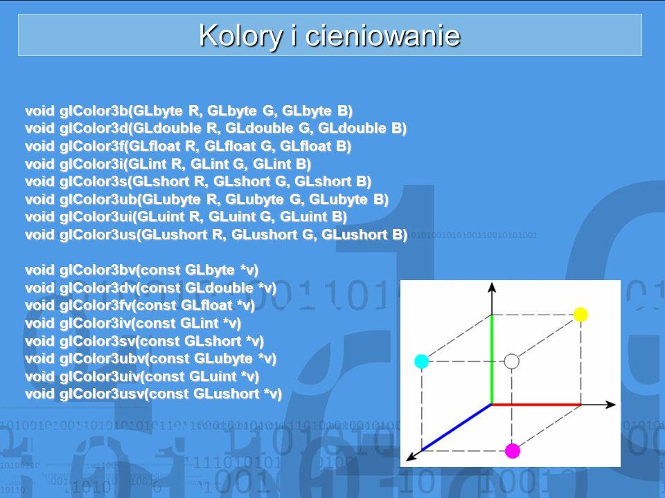 Kolory i cieniowanie void glColor3b(GLbyte R, GLbyte G, GLbyte B)