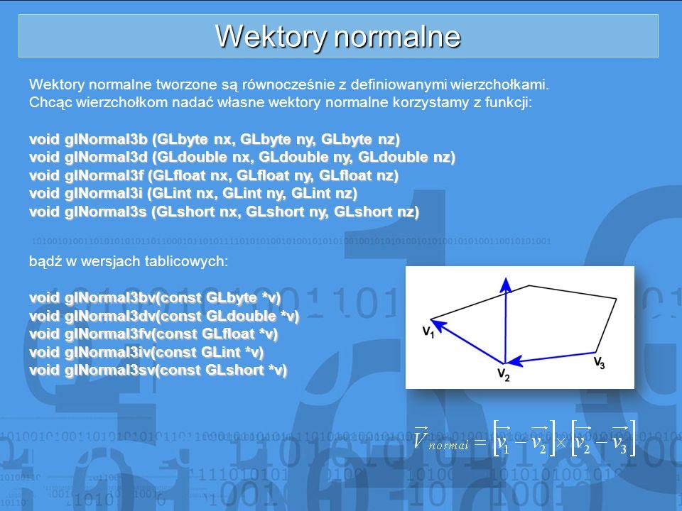 Wektory normalne Wektory normalne tworzone są równocześnie z definiowanymi wierzchołkami.