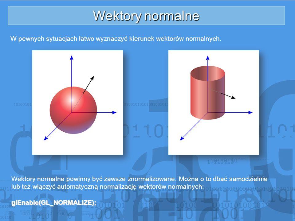 Wektory normalne W pewnych sytuacjach łatwo wyznaczyć kierunek wektorów normalnych.