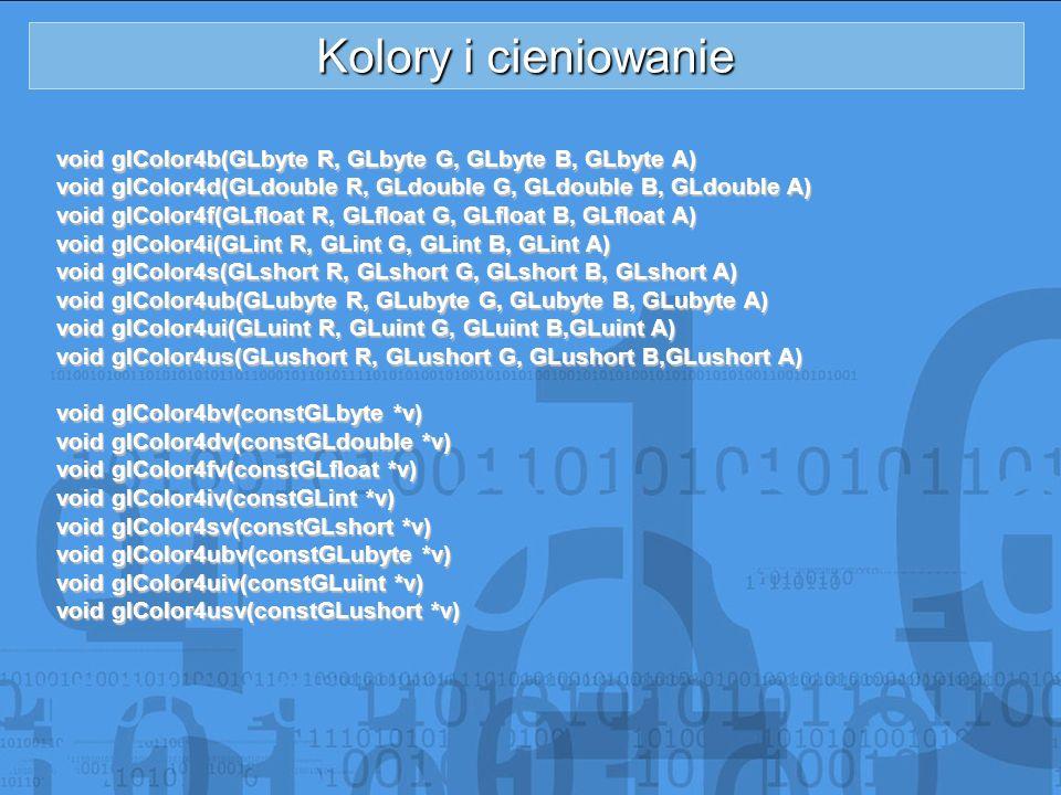 Kolory i cieniowanie void glColor4b(GLbyte R, GLbyte G, GLbyte B, GLbyte A) void glColor4d(GLdouble R, GLdouble G, GLdouble B, GLdouble A)