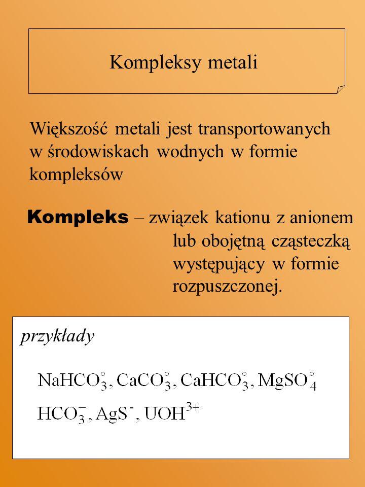 Kompleksy metali Większość metali jest transportowanych