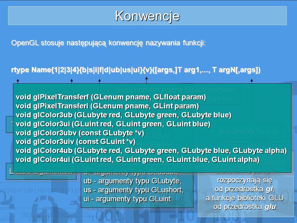 Konwencje OpenGL stosuje następującą konwencję nazywania funkcji: