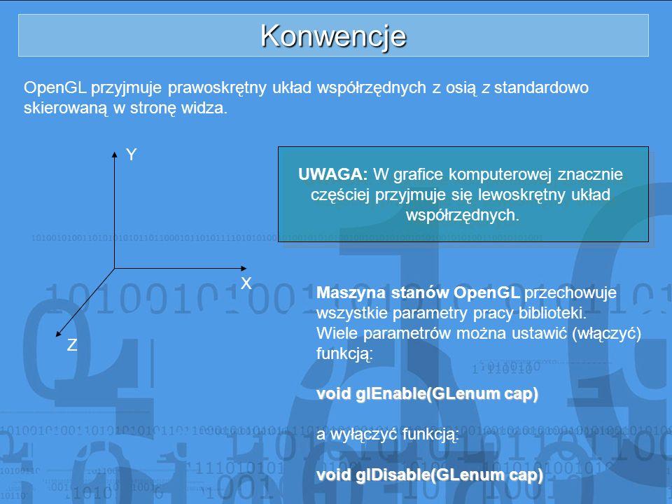 Konwencje OpenGL przyjmuje prawoskrętny układ współrzędnych z osią z standardowo. skierowaną w stronę widza.