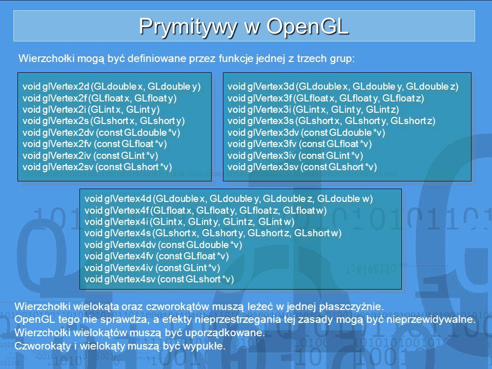 Prymitywy w OpenGL Wierzchołki mogą być definiowane przez funkcje jednej z trzech grup: void glVertex2d (GLdouble x, GLdouble y)