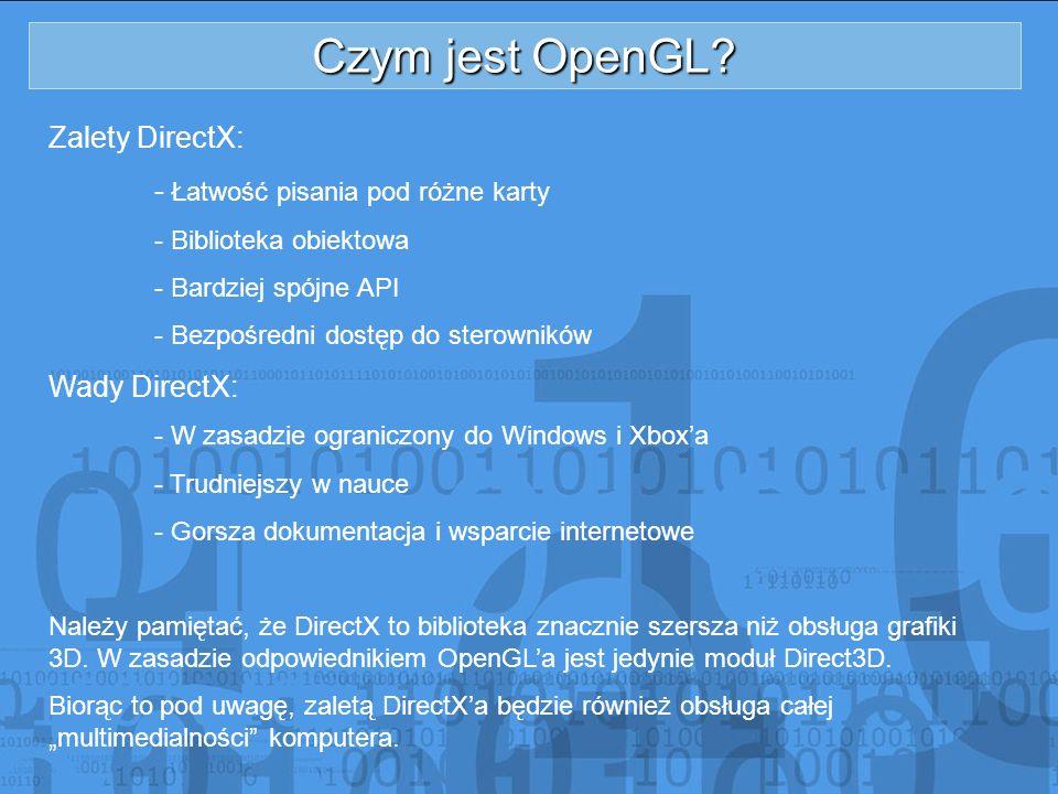 Czym jest OpenGL Zalety DirectX: - Łatwość pisania pod różne karty
