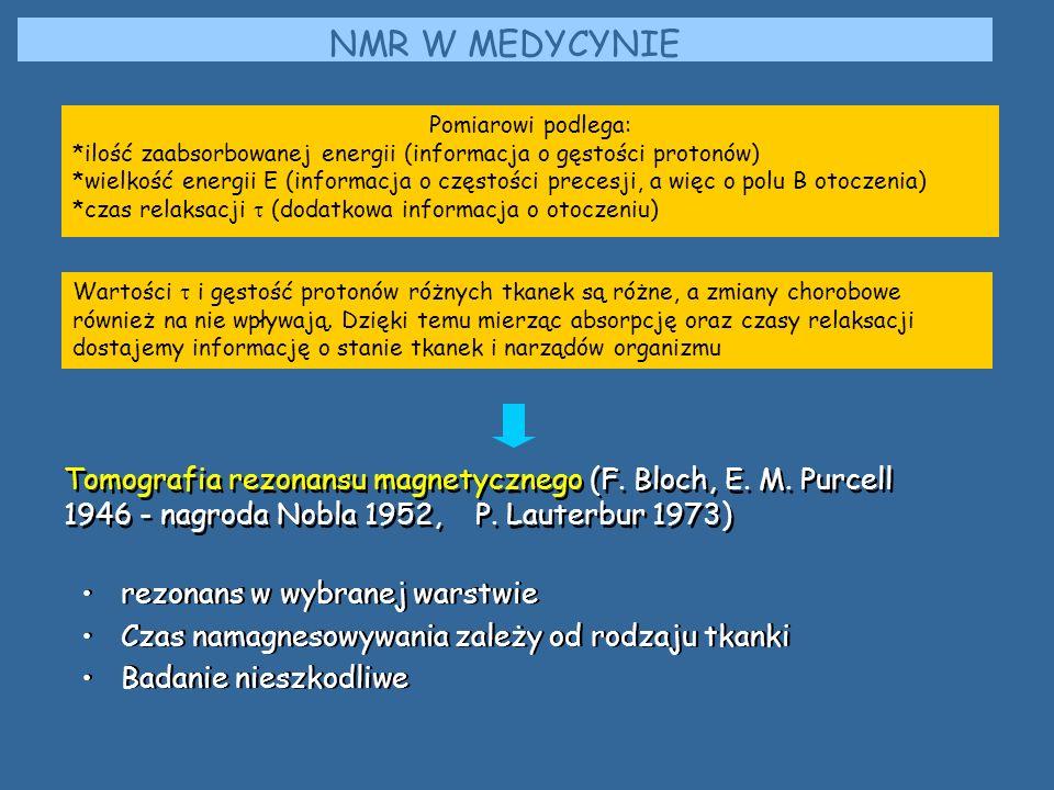 NMR W MEDYCYNIE Pomiarowi podlega: *ilość zaabsorbowanej energii (informacja o gęstości protonów)