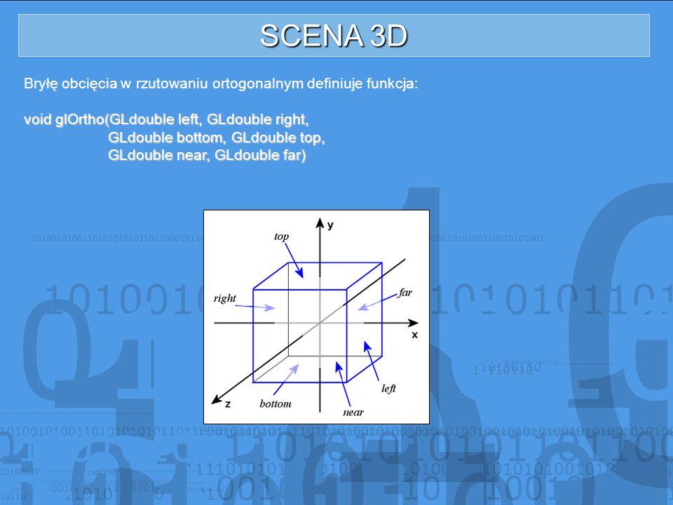 SCENA 3D Bryłę obcięcia w rzutowaniu ortogonalnym definiuje funkcja: