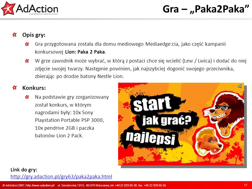 "Gra – ""Paka2Paka Opis gry: Konkurs:"