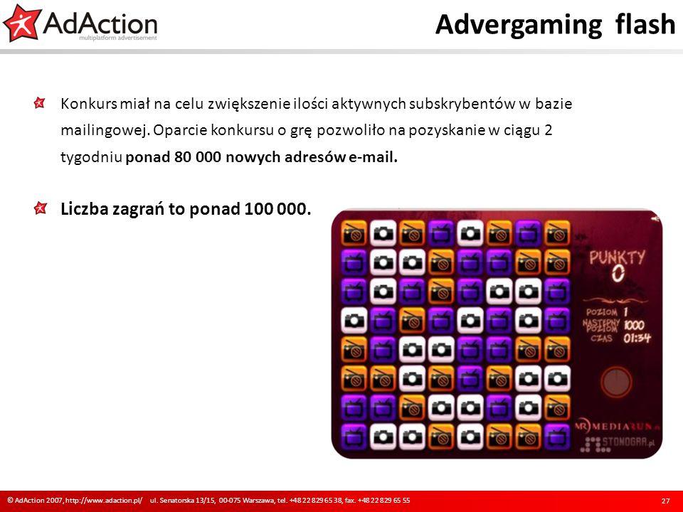 Advergaming flash Liczba zagrań to ponad 100 000.