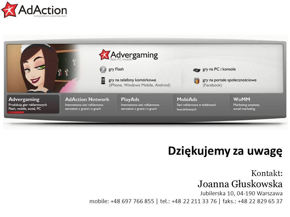 Dziękujemy za uwagę Joanna Głuskowska Kontakt: