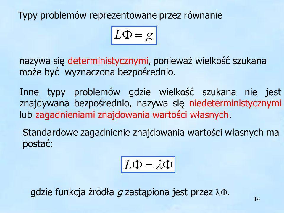 Typy problemów reprezentowane przez równanie