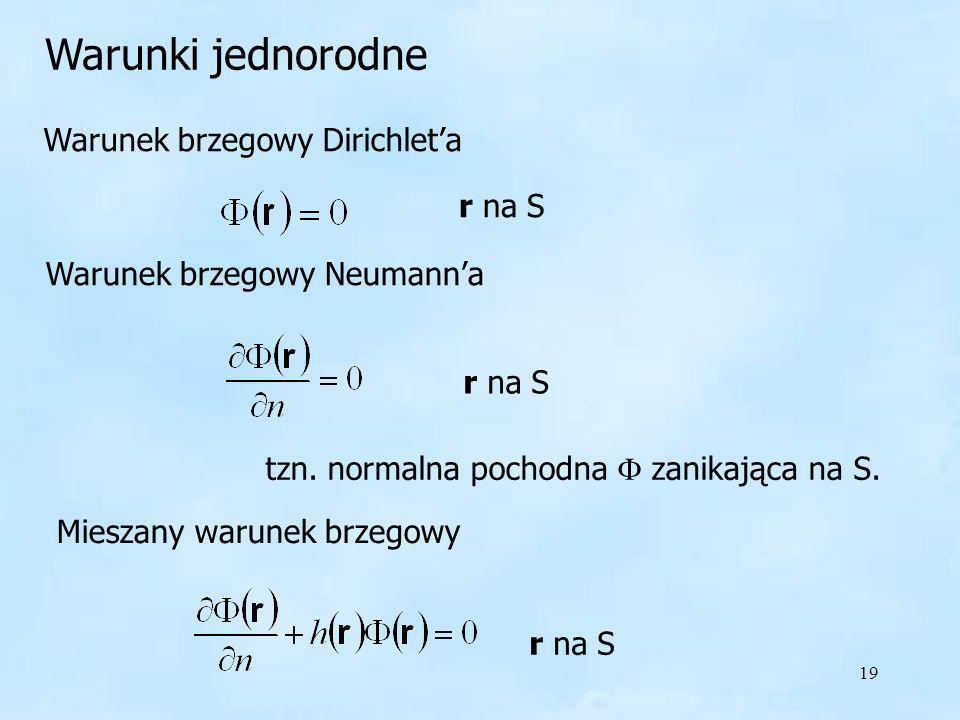 Warunki jednorodne Warunek brzegowy Dirichlet'a r na S