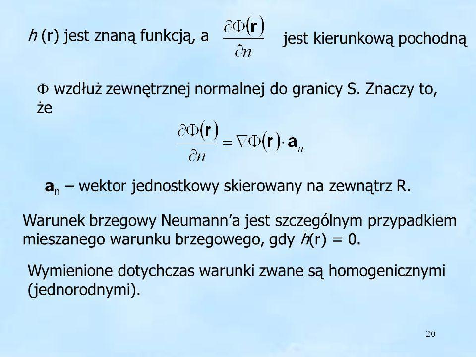 h (r) jest znaną funkcją, a
