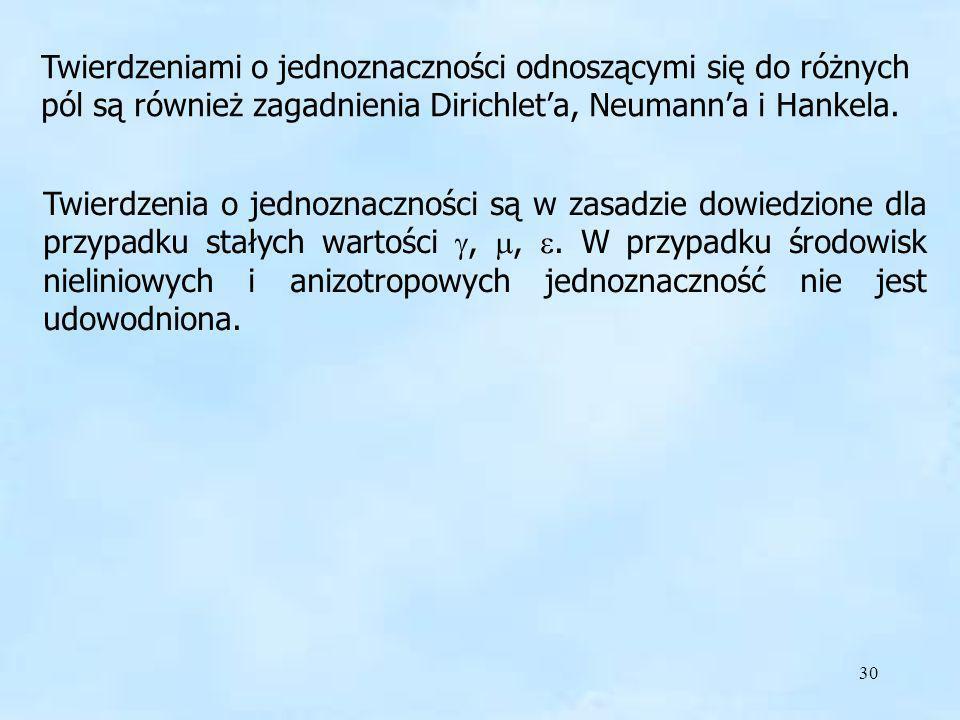 Twierdzeniami o jednoznaczności odnoszącymi się do różnych pól są również zagadnienia Dirichlet'a, Neumann'a i Hankela.