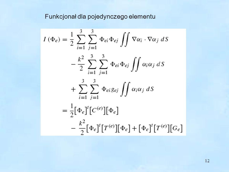 Funkcjonał dla pojedynczego elementu