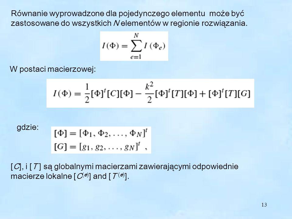 Równanie wyprowadzone dla pojedynczego elementu może być zastosowane do wszystkich N elementów w regionie rozwiązania.