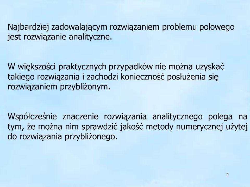 Najbardziej zadowalającym rozwiązaniem problemu polowego jest rozwiązanie analityczne.