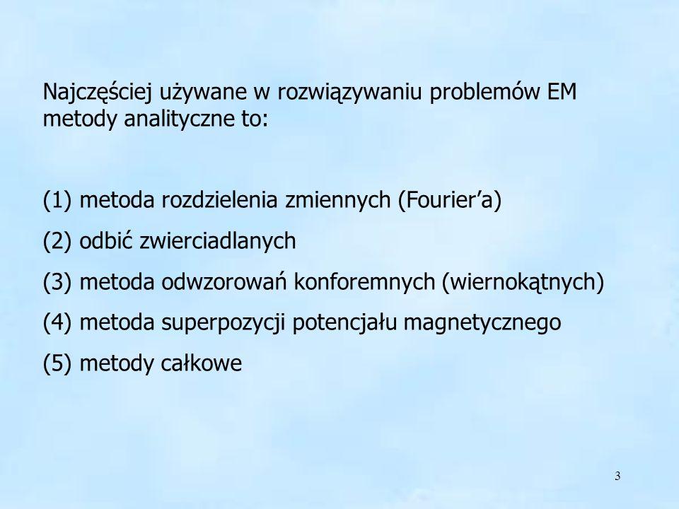 Najczęściej używane w rozwiązywaniu problemów EM metody analityczne to: