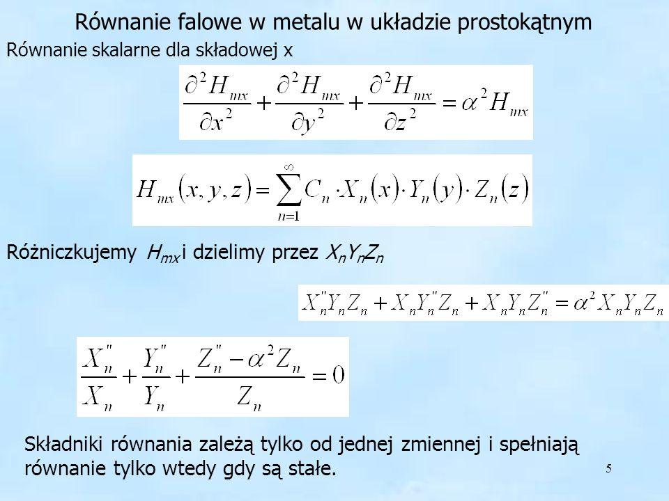 Równanie falowe w metalu w układzie prostokątnym