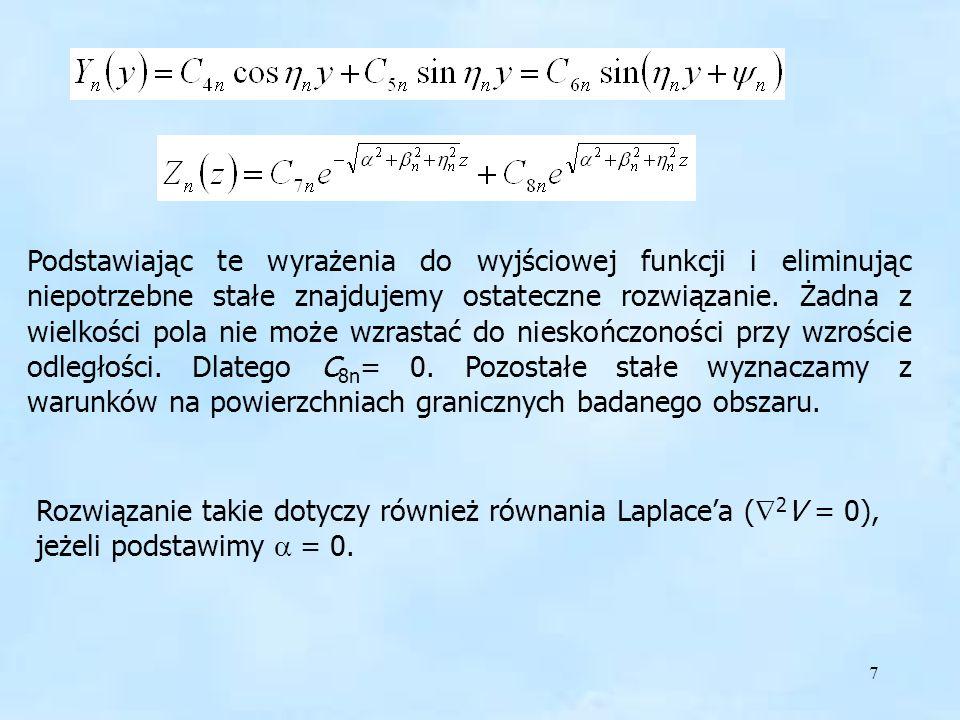 Podstawiając te wyrażenia do wyjściowej funkcji i eliminując niepotrzebne stałe znajdujemy ostateczne rozwiązanie. Żadna z wielkości pola nie może wzrastać do nieskończoności przy wzroście odległości. Dlatego C8n= 0. Pozostałe stałe wyznaczamy z warunków na powierzchniach granicznych badanego obszaru.