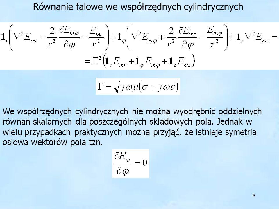 Równanie falowe we współrzędnych cylindrycznych