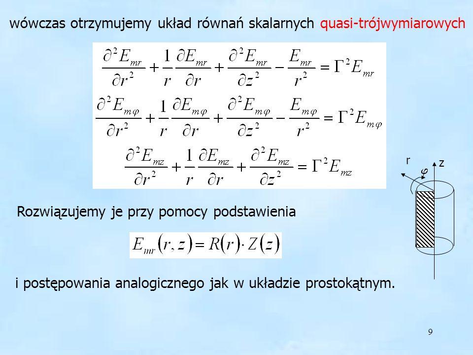 wówczas otrzymujemy układ równań skalarnych quasi-trójwymiarowych