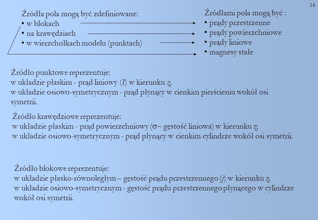 Źródła pola mogą być zdefiniowane: