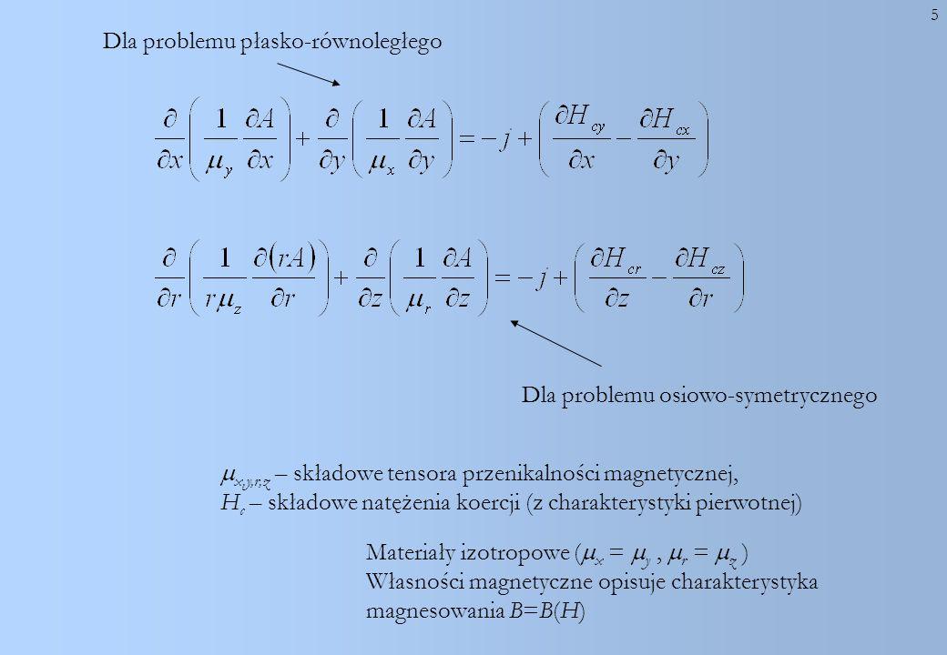 Dla problemu płasko-równoległego