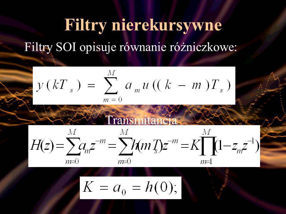Filtry nierekursywne Filtry SOI opisuje równanie różniczkowe: